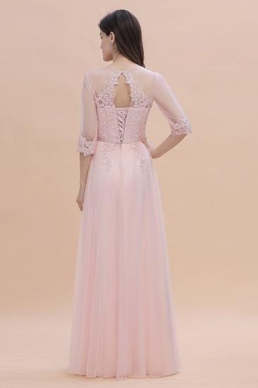 BMbridal Elegant V-neck Half Sleeves Lace Pink Bridesmaid Dress On Sale_3