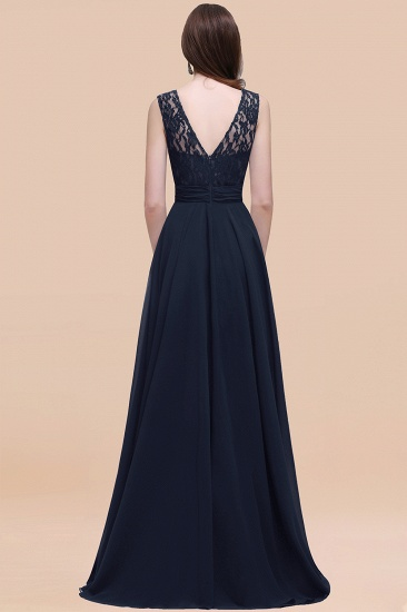 BMbridal Vintage Lace Scoop Sleeveless Dark Blue Bridesmaid Dress with V-Back_52