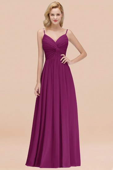 BMbridal Chic V-Neck Pleated Backless Bridesmaid Dresses with Spaghetti Straps_42