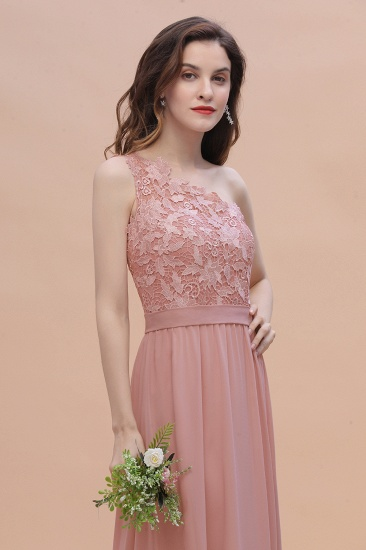 BMbridal Chic One Shoulder Chiffon Lace Vintage Mauve Bridesmaid Dress On Sale_7