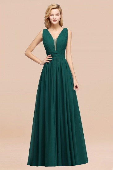 BMbridal Modest Dark Green Long Bridesmaid Dress Deep V-Neck Chiffon Maid of Honor Dress_33