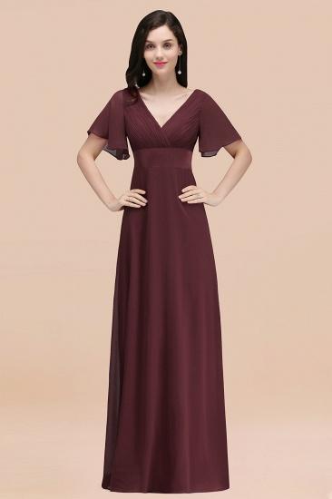 BMbridal Affordable V-Neck Ruffle Long Burgundy Bridesmaid Dress With Short-Sleeves_47