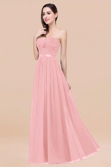 BMbridal Affordable Sweetheart Ruffle Navy Chiffon Bridesmaid Dress With Ribbon_4