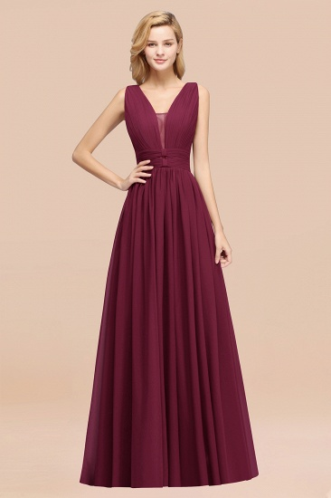 BMbridal Modest Dark Green Long Bridesmaid Dress Deep V-Neck Chiffon Maid of Honor Dress_44