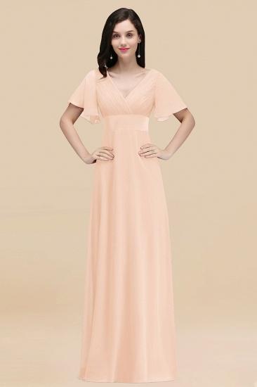 BMbridal Affordable V-Neck Ruffle Long Burgundy Bridesmaid Dress With Short-Sleeves_5