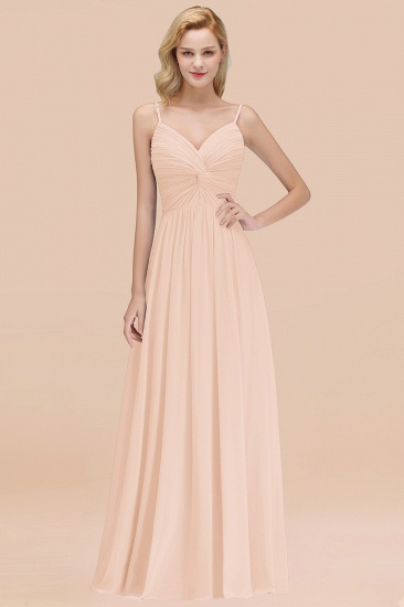 BMbridal Chic V-Neck Pleated Backless Bridesmaid Dresses with Spaghetti Straps_5