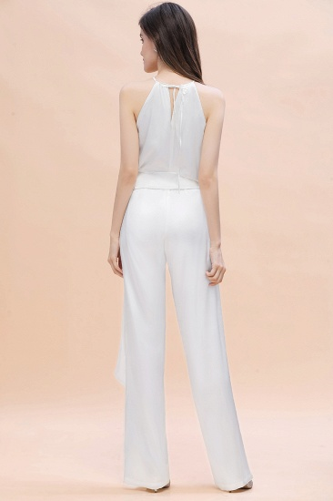 BMbridal Affordable Halter Sleeveless Ivory Charmeuse Bridesmaid Jumpsuit Online_3