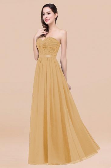 BMbridal Affordable Sweetheart Ruffle Navy Chiffon Bridesmaid Dress With Ribbon_13