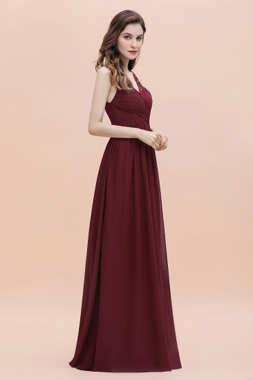 BMbridal Elegant V-Neck Lace Ruffles Bridesmaid Dress Sequins Burgundy Chiffon Evening Dress_6