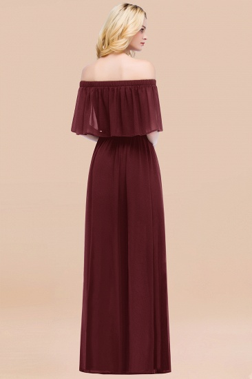 BMbridal Vintage Off-the-Shoulder Long Burgundy Bridesmaid Dress with Ruffle_52