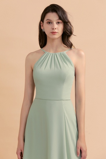 BMbridal Stylish Jewel Sleeveless Dusty Sage Chiffon Bridesmaid Dress with Ruffles_9