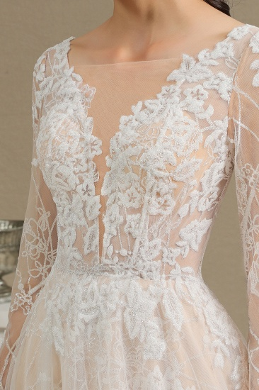 BMbridal Long Sleeves Lace Wedding Dress Online_14