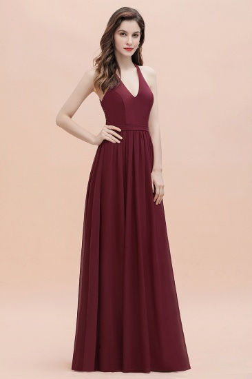 BMbridal A-Line Lace Burgundy Bridesmaid Dress Lace Sequins Sleeveless Evening Dress_6