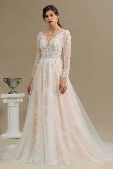 BMbridal Long Sleeves Lace Wedding Dress Online_5