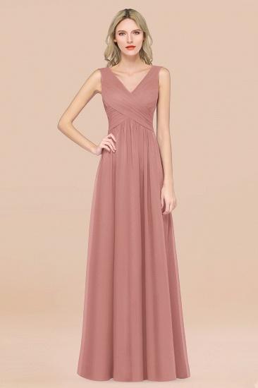 BMbridal Glamorous Chiffon V-Neck Sleeveless Burgundy Bridesmaid Dress with Draped Back_50