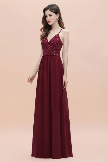 BMbridal Fabulous A-line Burgundy Chiffon Bridesmaid Dress V-Neck Spaghetti Straps Sequins Evening Dress_7