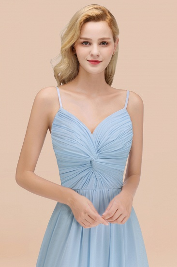 BMbridal Chic V-Neck Pleated Backless Bridesmaid Dresses with Spaghetti Straps_56