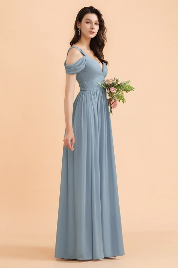 BMbridal Sexy Cold-Shoulder Dusty Blue Chiffon Bridesmaid Dress with Slit On Sale_5