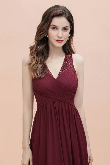 BMbridal Elegant V-Neck Lace Ruffles Bridesmaid Dress Sequins Burgundy Chiffon Evening Dress_10