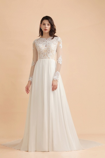 Elegant A-Line Chiffon Lace Wedding Dress Long Sleeves Jewel Ruffles Bridal Gowns On Sale_4