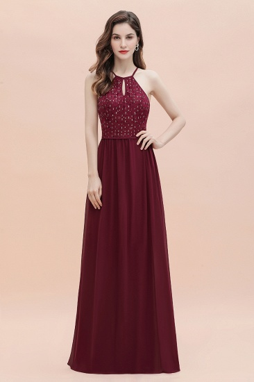 Glamorous Halter A-line Bridesmaid Dress Chiffon Sequins Elegant Party Maxi Dress