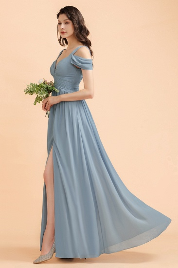 BMbridal Sexy Cold-Shoulder Dusty Blue Chiffon Bridesmaid Dress with Slit On Sale_7