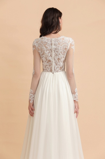Elegant A-Line Chiffon Lace Wedding Dress Long Sleeves Jewel Ruffles Bridal Gowns On Sale_8