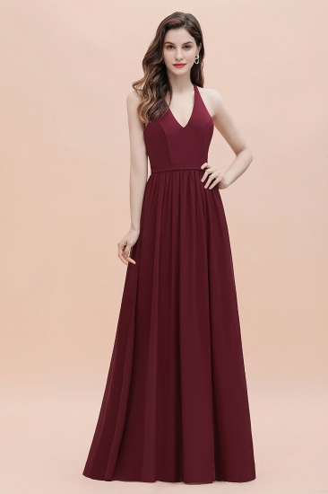 BMbridal A-Line Lace Burgundy Bridesmaid Dress Lace Sequins Sleeveless Evening Dress_1