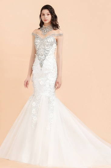 BMbridal Luxury Mermaid Wedding Dress Tulle Lace Sequins Sleeveless Bridal Gowns with Pearls_4