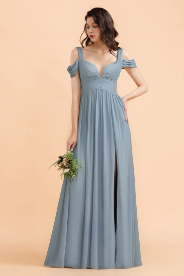 BMbridal Sexy Cold-Shoulder Dusty Blue Chiffon Bridesmaid Dress with Slit On Sale_1