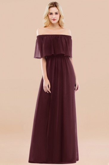 BMbridal Vintage Off-the-Shoulder Long Burgundy Bridesmaid Dress with Ruffle_47