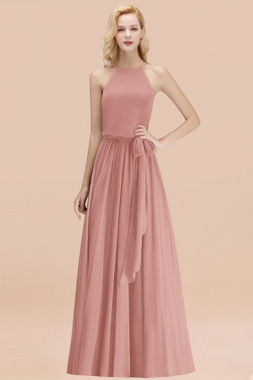 BMbridal Affordable Halter Bow Long Bridesmaid Dress Modest Burgundy Chiffon Wedding Party Dress_50