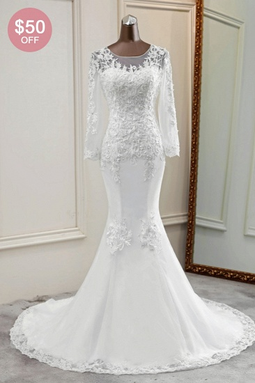 BMbridal Elegant Jewel Lace Mermaid White Wedding Dresses Long Sleeves Appliques Bridal Gowns