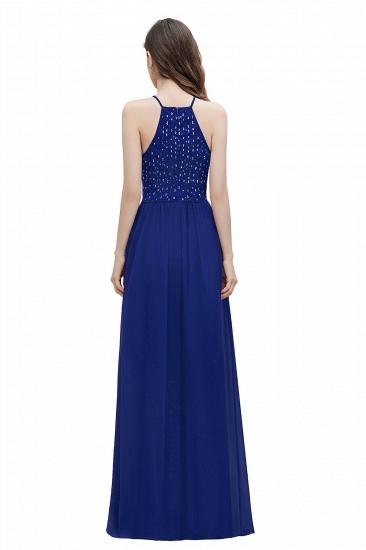 BMbridal Glamorous Halter A-line Bridesmaid Dress Chiffon Sequins Elegant Party Maxi Dress_11