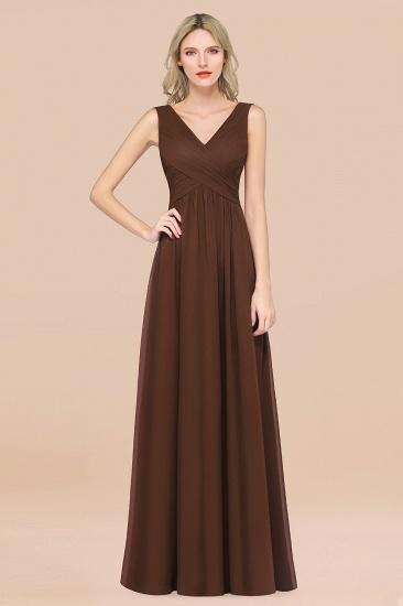 BMbridal Glamorous Chiffon V-Neck Sleeveless Burgundy Bridesmaid Dress with Draped Back_12