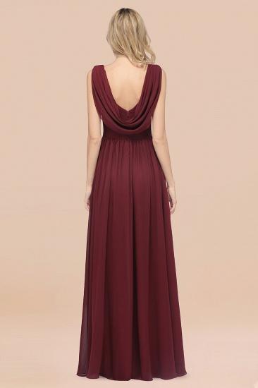 BMbridal Glamorous Chiffon V-Neck Sleeveless Burgundy Bridesmaid Dress with Draped Back_52