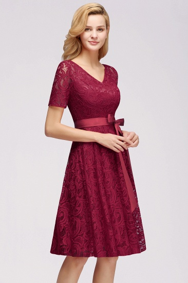 BMbridal Burgundy Lace Short Sleeve Homecoming Dress Mini Party Dress On Sale_8