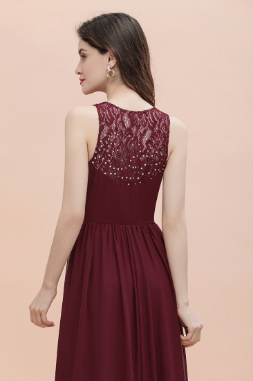 BMbridal Elegant V-Neck Lace Ruffles Bridesmaid Dress Sequins Burgundy Chiffon Evening Dress_11