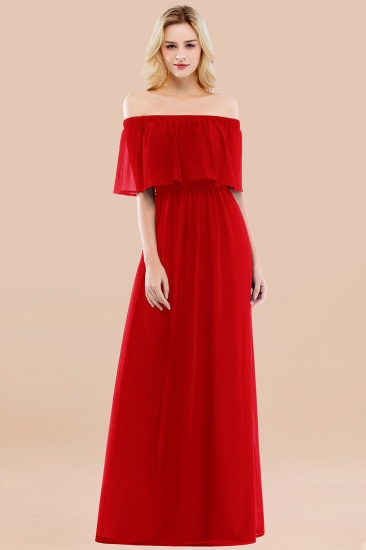 BMbridal Vintage Off-the-Shoulder Long Burgundy Bridesmaid Dress with Ruffle_8