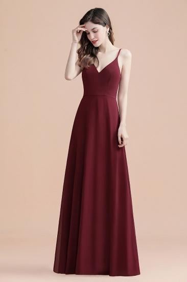 BMbridal Elegant V-Neck Burgundy Chiffon Bridesmaid Dress Lace Sequins Spaghetti Straps Evening Dress_6