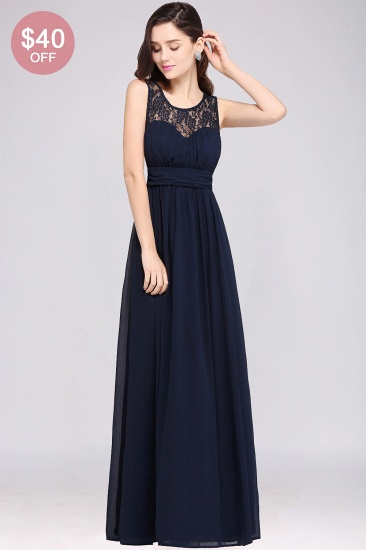 BMbridal Elegant Lace Chiffon Affordable Long Navy Bridesmaid Dresses In Stock