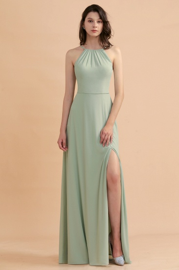 BMbridal Stylish Jewel Sleeveless Dusty Sage Chiffon Bridesmaid Dress with Ruffles_7