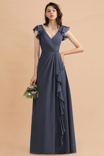 BMbridal Affordable V-Neck Chiffon Ruffles Bridesmaid Dress with Pockets On Sale_5