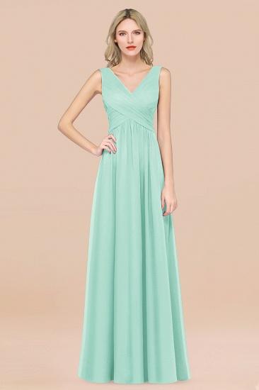 BMbridal Glamorous Chiffon V-Neck Sleeveless Burgundy Bridesmaid Dress with Draped Back_36