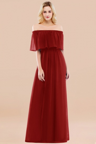 BMbridal Vintage Off-the-Shoulder Long Burgundy Bridesmaid Dress with Ruffle_48