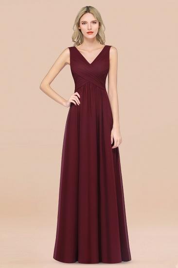 BMbridal Glamorous Chiffon V-Neck Sleeveless Burgundy Bridesmaid Dress with Draped Back_10