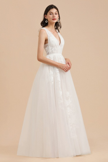 BMbridal Simple Ivory V-Neck Tulle Lace Wedding Dress Appliques Garden Bridal Gowns_4