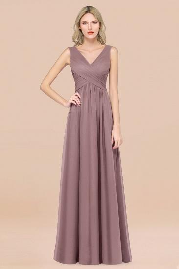 BMbridal Glamorous Chiffon V-Neck Sleeveless Burgundy Bridesmaid Dress with Draped Back_37