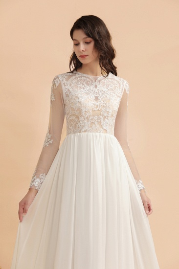 Elegant A-Line Chiffon Lace Wedding Dress Long Sleeves Jewel Ruffles Bridal Gowns On Sale_7