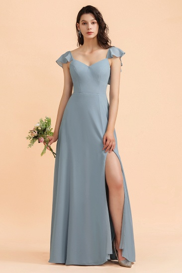 BMbridal Fashion Dusty Blue Chiffon Sweetheart Slit Bridesmaid Dress with Ruffles Online